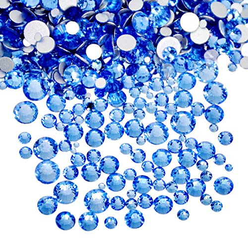 AD Beads 1440pcs Mixed Size Non Hotfix Quality Rhinestones Flatback Nail Art Pick Color (Lt. Sapphire 06)