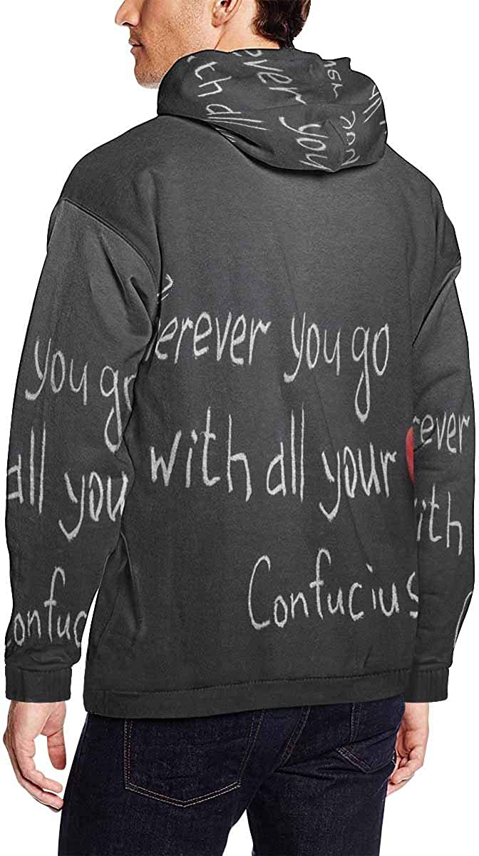 Go with All Your Heart Long Sleeve Hoodie INTERESTPRINT Mens Wherever You Go