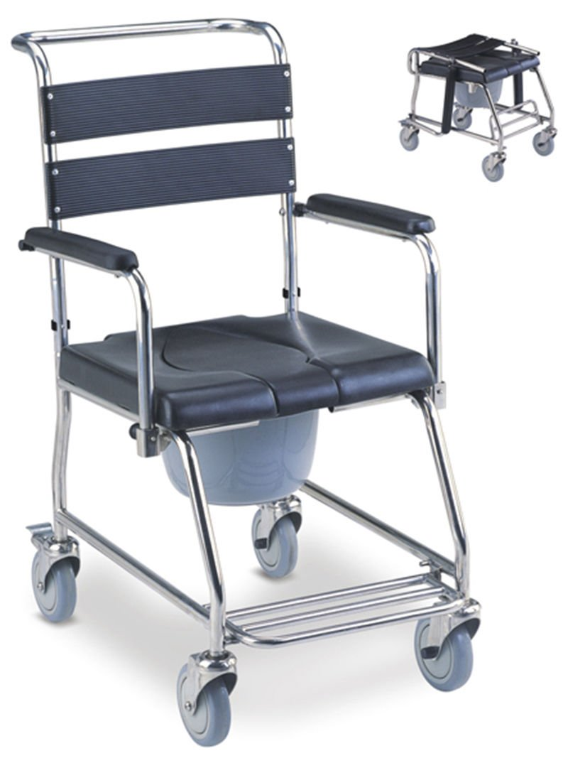 MedMobile® Stainless Steel Shower Wheelchair Portable Toilet with U-Cut PU Commode Seat