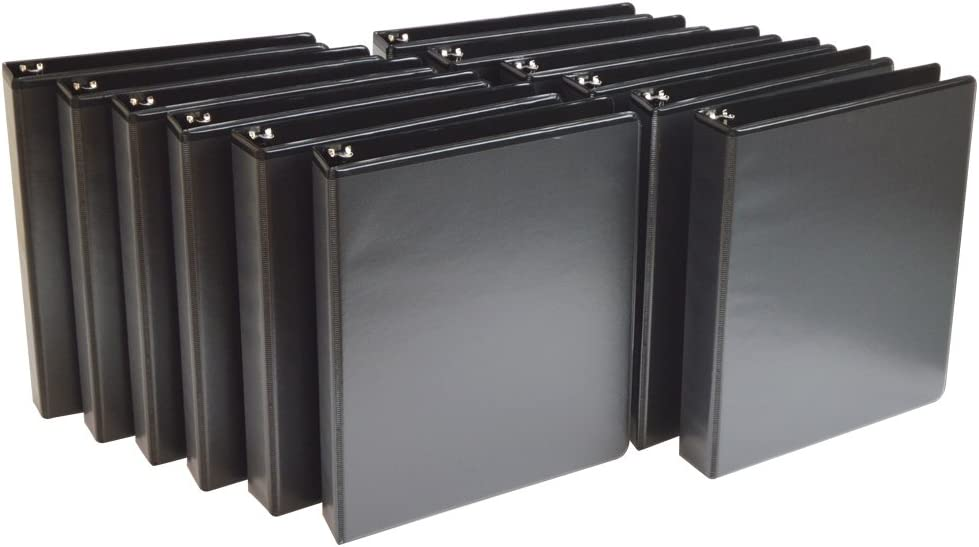 Wilson Jones 1 Inch 3 Ring Binder, Basic Round Ring View Binder, Black, 4 Pack (W70362-14BPP) : Office Products