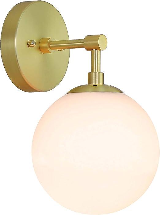 XiNBEi Applique da Parete Vintage Applique con Vetro Bianco Globe Applique per Bagno Su o Gi/ù in Cromo per Soggiorno e Cucina XB-W121-CH
