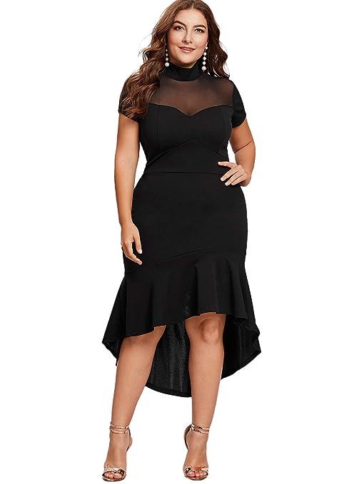 Women's Plus Size Mesh Frill Ruffle Round Neck Pencil Party Dress