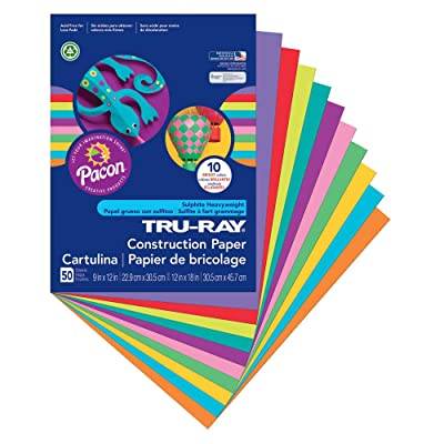 "Pacon Tru-Ray Construction Paper, 9"" x 12"", 50-Count, Bright Assorted (102940) : Multipurpose Paper : Office Products"