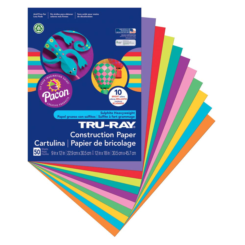 Tru-Ray - Construction Paper,76 lb.,9x12,50/PK,Assorted, Sold as 1 Package, PAC102940 9x12 Pacon Corporation