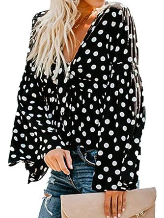 Amazon.com: Dasivrry - Blusa de manga larga asimétrica con ...