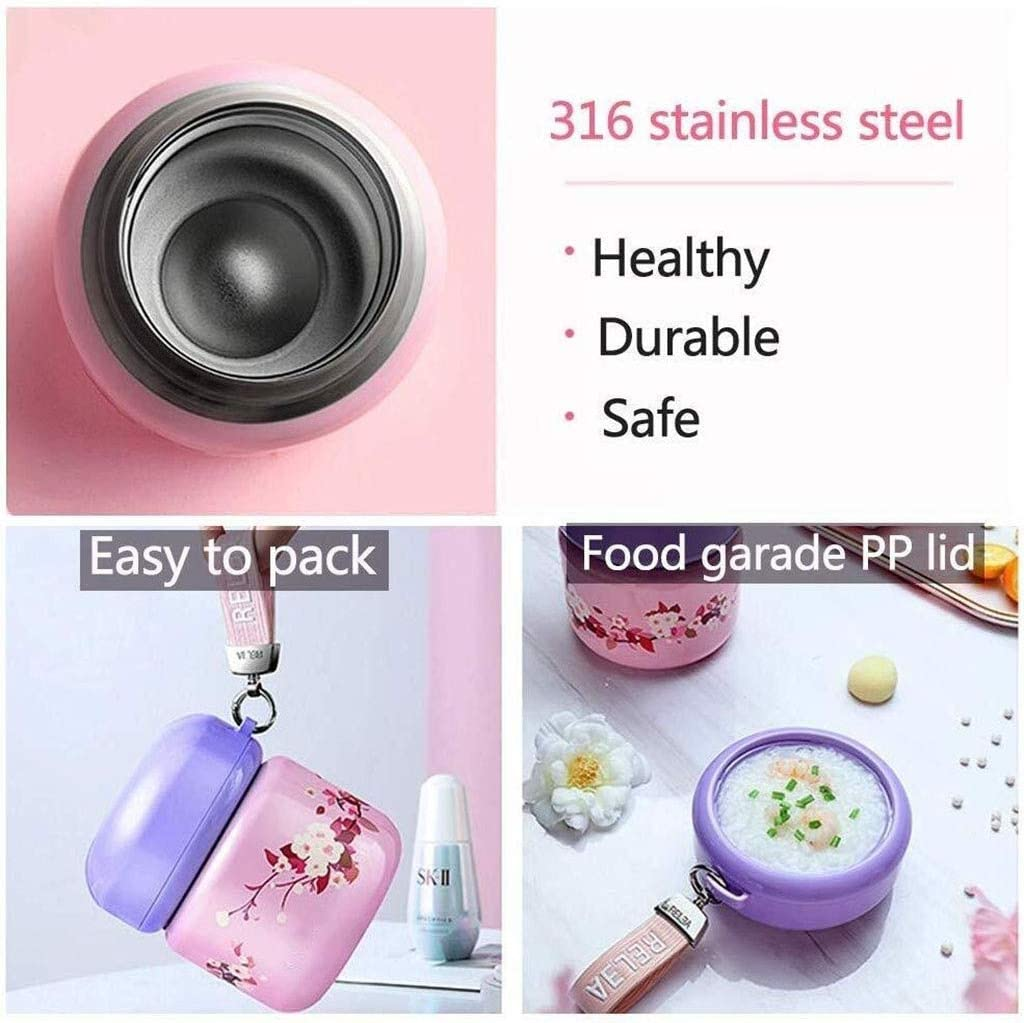 Lunch Box With Folding Spoon Stainless Steel Food Flasks For Hot Food Insulated Container For Lunch Food Flask Kids (Color : Beige)