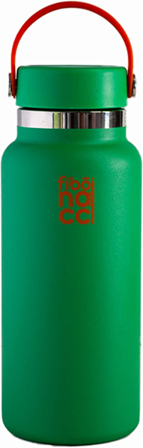 Fibonacci Double Wall Vacuum Insulated Stainless Steel Large Metal Water Bottle Wide Mouth with Straw 32oz - 40oz BPA Free Reusable Water Bottle para agua