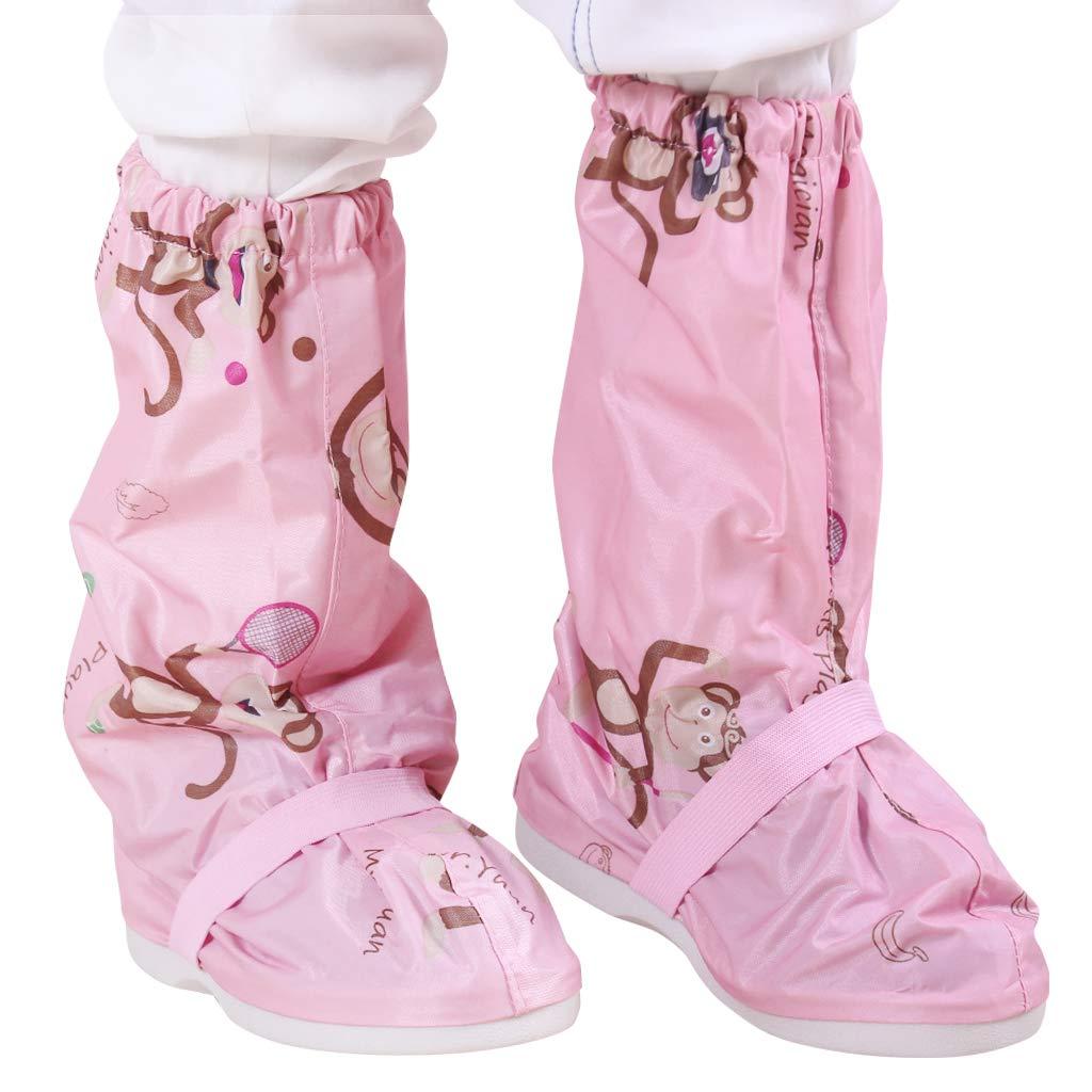 Zilee Copriscarpe Impermeabili Soprascarpe Riutilizzabile Bambini Stivali da Pioggia Antiscivolo PVC Pioggia Scarpe Ragazzi e Ragazze
