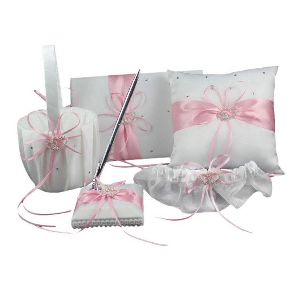 VAlink 5Pcs/lot Romantic Wedding Decoration Set Rhinestone Stain Ribbon Wedding Ring Pillow+ Girls Flower Basket +Guest Book + Pen + Garter for Wedding Party Decor Accessories