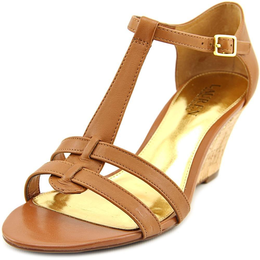 Lauren by Ralph Lauren Womens Harleen Leather Open Toe Casual Platform Sandals B01N9CS31D 7.5 B(M) US|Polo Tan