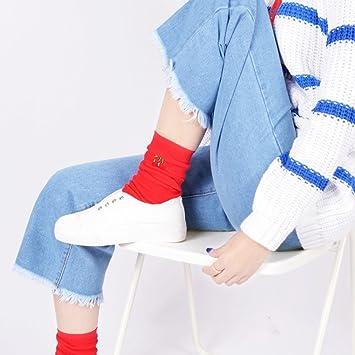TT Otoño y el invierno de algodón japonés de doble aguja montón de pila femenina calcetines