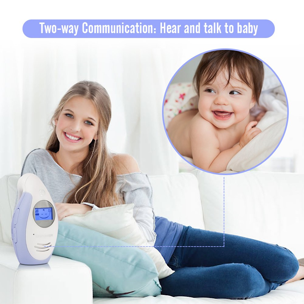 DBPOWER Digital Audio Baby Monitor with Two-Way and Talk-Back Intercom System up to 1,000ft Extended Range Rechargeable Battery Operated Parent Unit to Help Always Connected to Your Baby