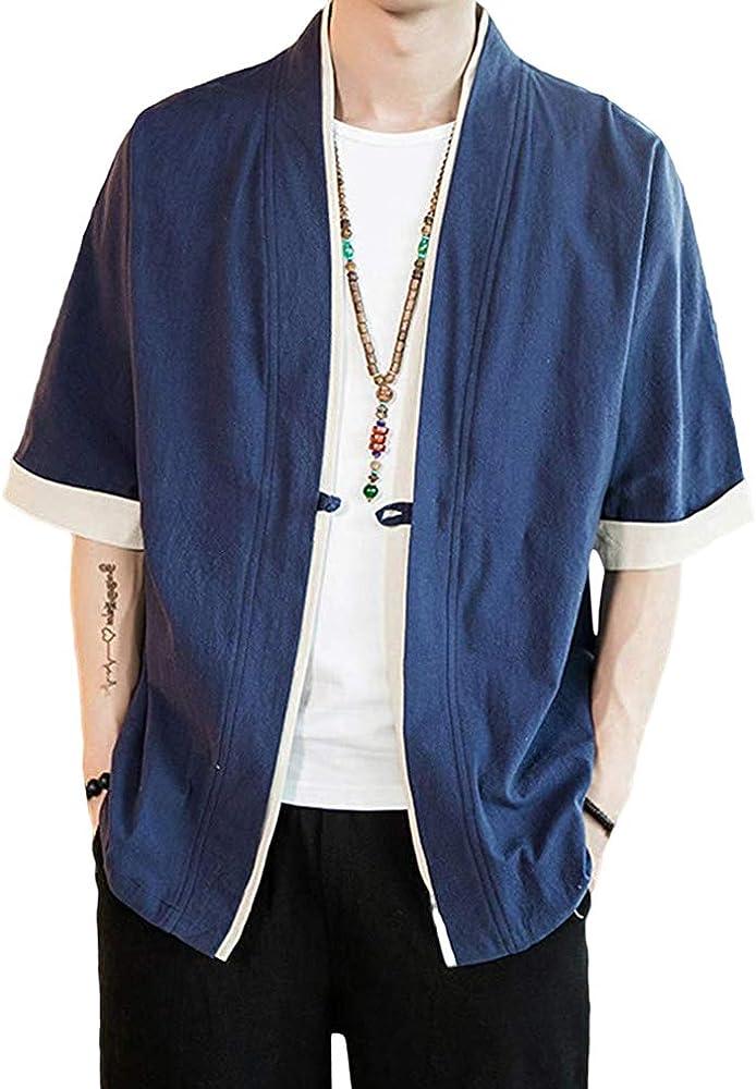 Hombres Camisa de Manga Corta Color de Contraste Regular Fit Kimono Cardigan Botón Camiseta Simple Camisa: Amazon.es: Ropa y accesorios
