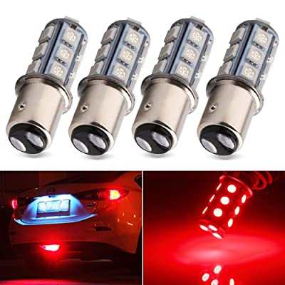 EverBright 1157 Led Bulb, BAY15D 1034 2057 2357 7528 Bulb for RV Camper SUV MPV Car Led Tail Lights Brake Lights Parking Lamp Bulb Side Marker Light, 18SMD 5050Chips DC-12V, Brilliant Red (Pack of 4): Automotive