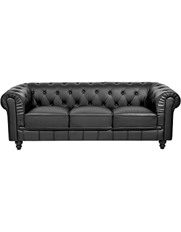 Mobilier Deco Sofá 3 plazas Negro Chesterfield