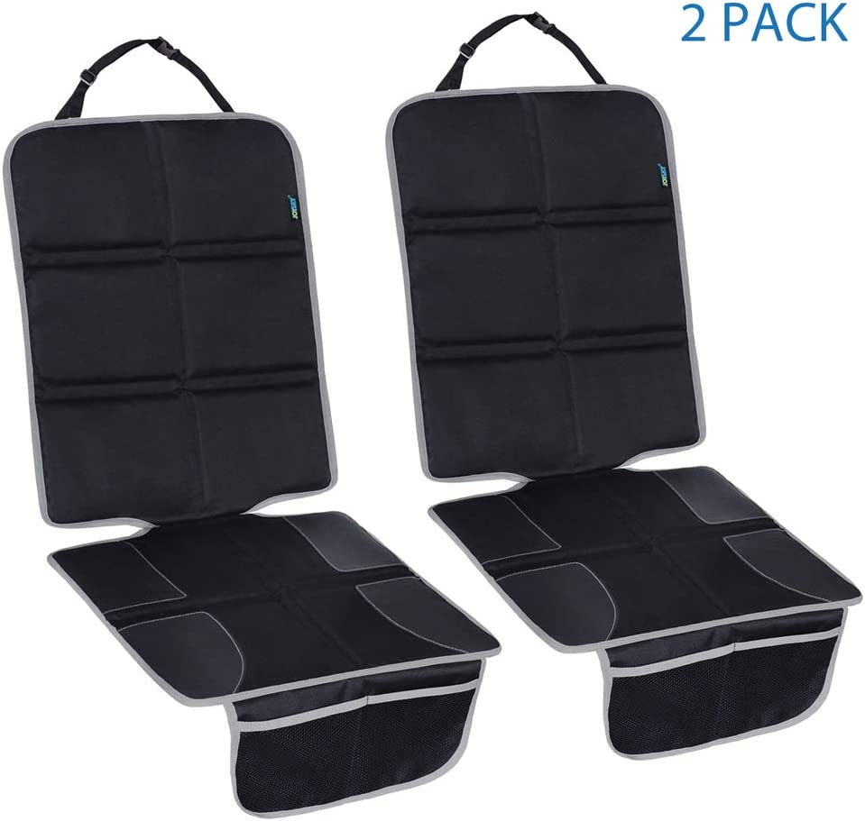 JOYSKY Car Seat Protector 2 Pack for Child Baby Carseat, Water-Resistant Auto Seat Cover Mat with Thick Padding to Protect Leather Seats