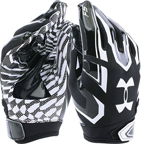 Under Armour UA F5 Grab Tack Advanced Skill Heat Gear Max Flex Football Receiver Gloves (YOUTH SMALL) Classic Black/White ()