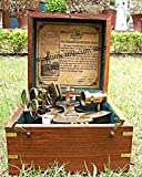 Best Christmas Day Gift 5'' Heavy Brass Nautical Sextant with Wooden Box.3134