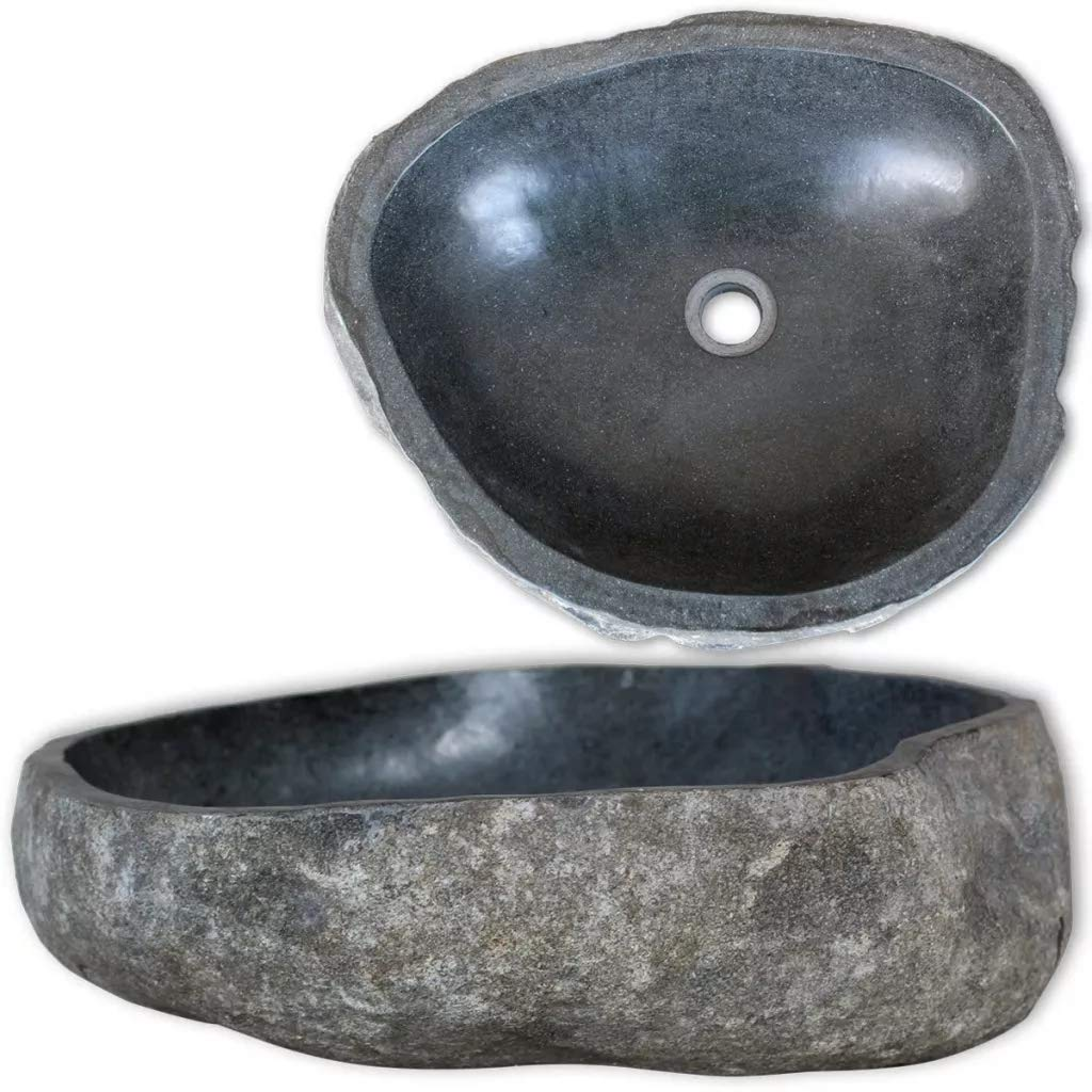 x 40-45 Oval Countertop Basin Sink Nature Basin River Stone Hand Carved for Bathroom Home Decor 30-35 x 15 cm