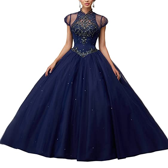 Womens Navy Ball Gown Quinceanera Dress Vestidos De 15 Anos with Bolero ...