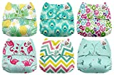 #1: Mama Koala One Size Baby Washable Reusable Pocket Cloth Diapers, 6 Pack with 6 One Size Microfiber Inserts (Aloha)