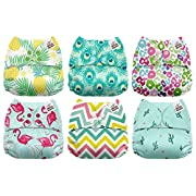 Mama Koala One Size Baby Washable Reusable Pocket Cloth Diapers, 6 Pack with 6 One Size Microfiber Inserts (Under The Sea)