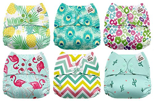 - Mama Koala One Size Baby Washable Reusable Pocket Cloth Diapers, 6 Pack with 6 One Size Microfiber Inserts (Aloha)