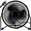 Small Desk Fan with Clock and Temperature Display, Lichamp 7 Inch Metal Frame USB Powered Flashing LED Display Electric Little Personal Cooling Fan, Quiet Table Fan with 5 Feet USB Cable