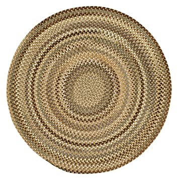Delightful Capel Rugs Manchester Round Braided Chair Pad, 15u0026quot;, Beige Hues