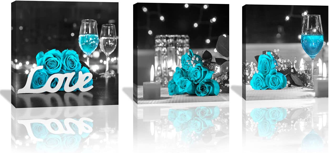 Wall Decor for Living Room Teal Rose Floral Pictures Wine Glass Flower Canvas Wall Art for Bedroom Kitchen Decor Print Size: 14x14inchx3 Pieces/Set