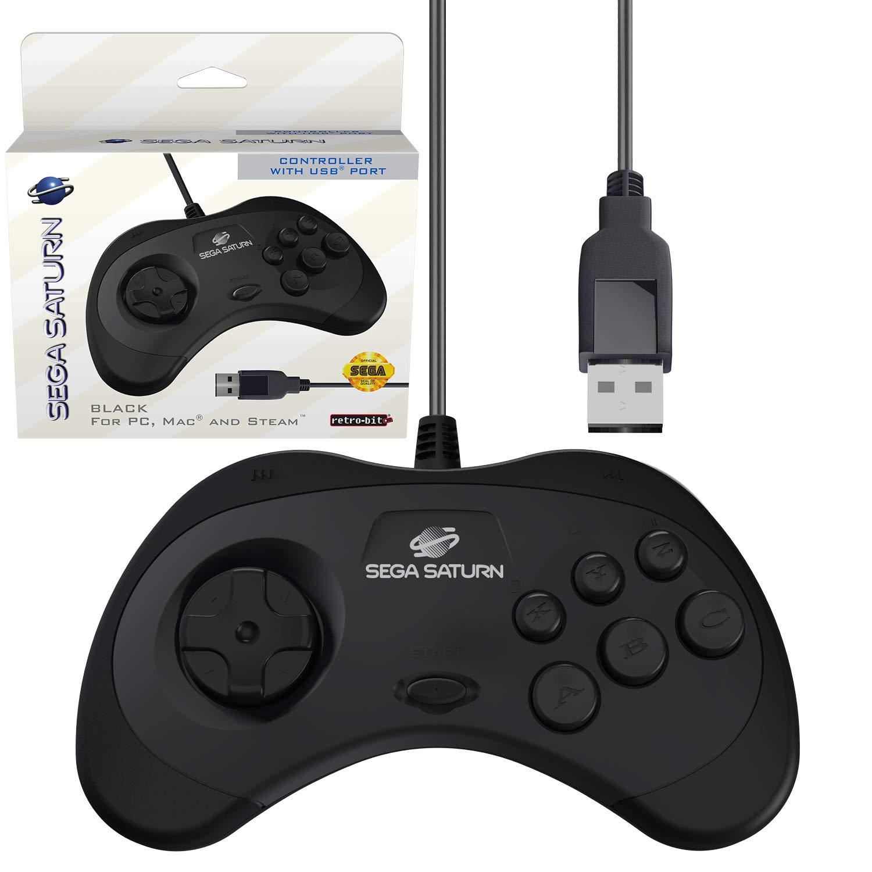 Retro-Bit Official Sega Saturn USB Controller Pad for Sega Genesis Mini,  PC, Mac, Steam, RetroPie, Raspberry Pi - USB Port - Black