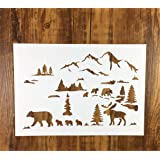 Zzooi Hollowed Out Little Bear Caribou Wall Painting Stencil Hollow Little Bears Caribous Blackboard Drawing Template…