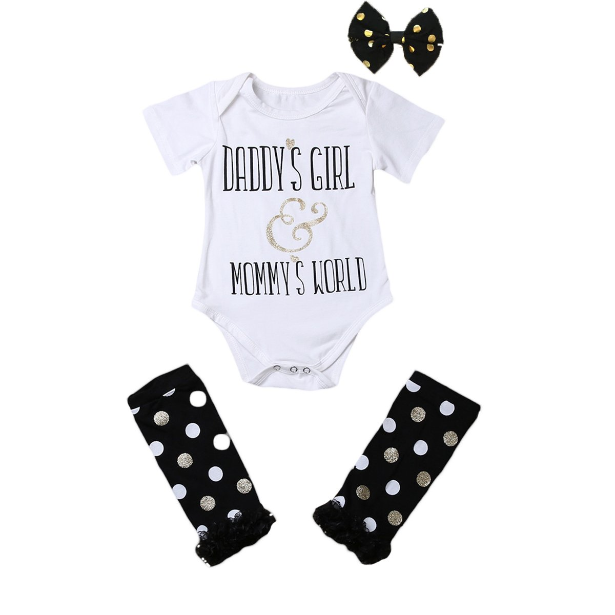 3Pcs Baby Girls Romper + Polka Dots Leg Warmers + Butterfly Bow Outfit Clothes Set