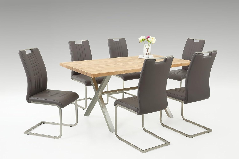 Tischgruppe Lausanne mit grauen Stoff - Tischplatte massiv