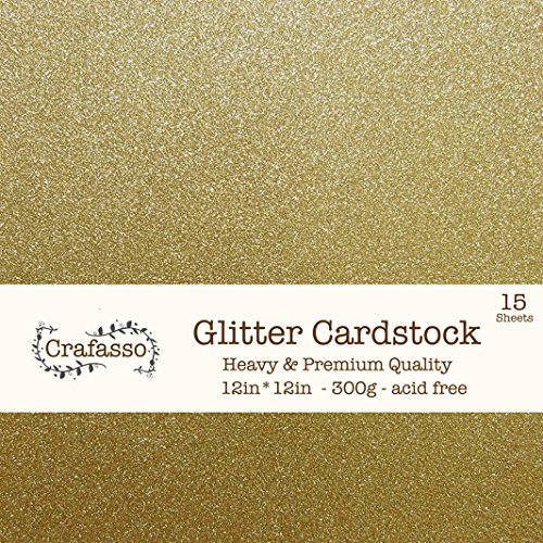 Crafasso 12'' x 12'' 300gms Heavy & Premium Glitter cardstock, 15 Sheets, Gold by Crafasso