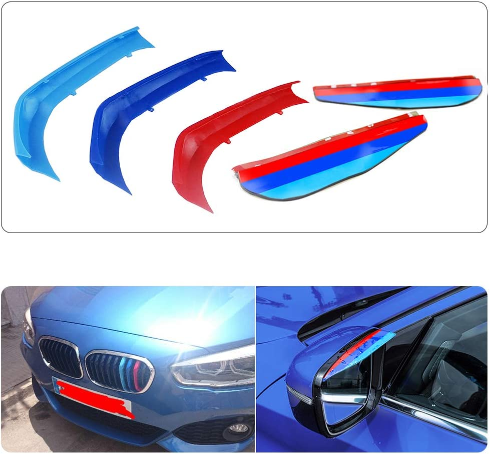 9Gitter F/ür 15-17 1 Serie 3D Colors M Front Grille Trim Strips Cover Stickers+Rear View Mirror Rain Eyebrow 5St/ück