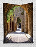 italian kitchen accessories - Ambesonne Tuscan Decor Collection, Ancient Italian Street in Small Provincial Town of Tuscan Italy Europe, Bedroom Living Kids Girls Boys Room Dorm Accessories Wall Hanging Tapestry, Ivory Green