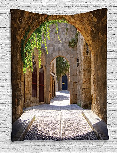 Ambesonne Tuscan Decor Collection, Ancient Italian Street in Small Provincial Town of Tuscan Italy Europe, Bedroom Living Kids Girls Boys Room Dorm Accessories Wall Hanging Tapestry, Ivory Green