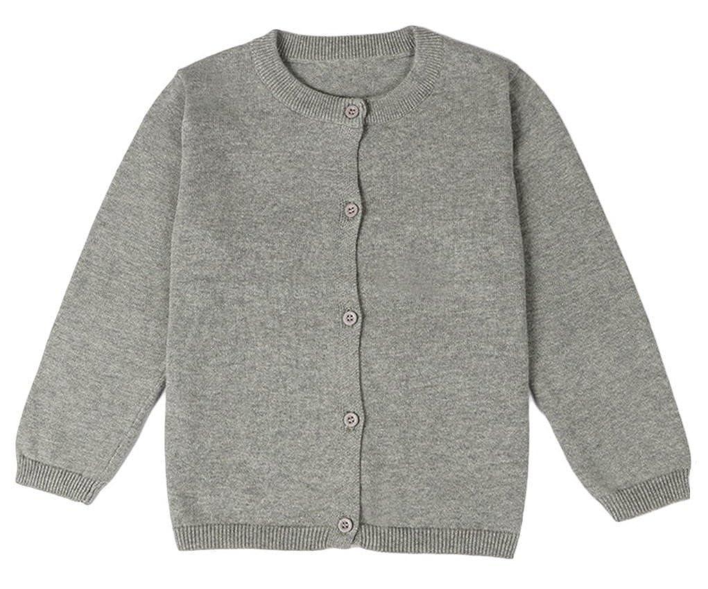 GSVIBK Girls Cotton Cardigans Long Sleeve Kids Button Sweater Crew Neck Cardigan Sweater