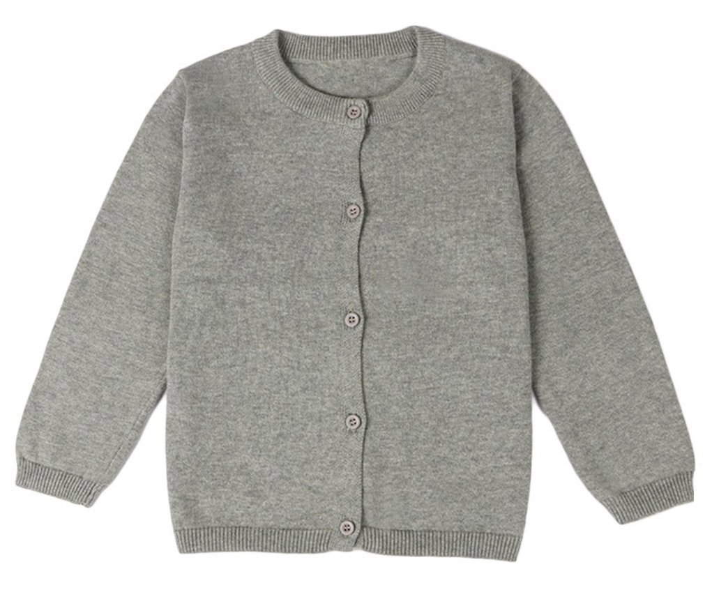 Guandiif Girl Cardigans Long Sleeve Crewneck Cardigans Solid Knit Button Sweater Cardigan for Baby Girl 6-7Y Light Gray
