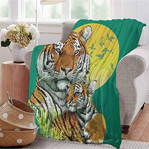 Luoiaax Safari Commercial Grade Printed Blanket Tiger Family in The Jungle Full Moonlight Night Grass Abstract Queen King W70 x L90 Inch Jade Green Apricot Pale Green