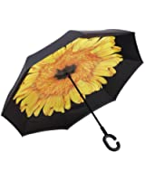 Happytimelol Inverted Double Layer New Innovative Multifunctional Rain/UV/Wind Protection Car Reverse Folding Umbrella with C-Shaped Handle