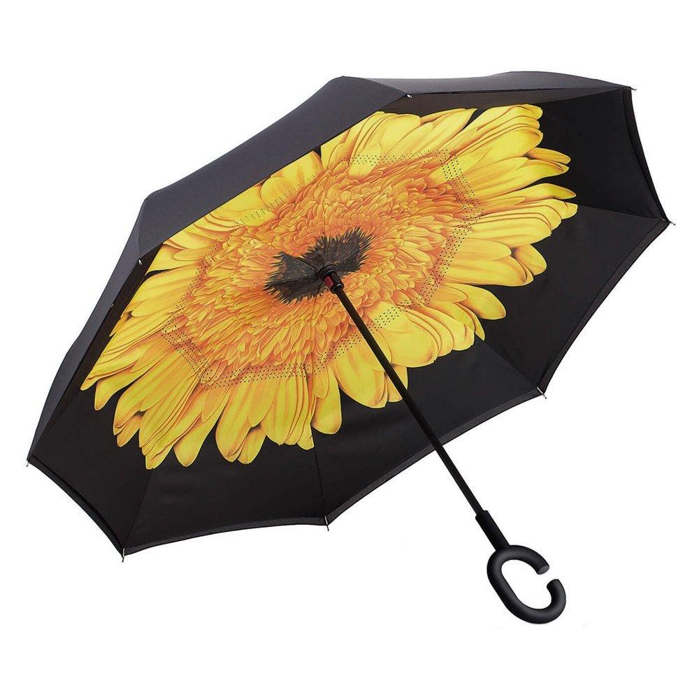 Inverted Umbrella Double Layer New Innovative Multifunctional Rain/UV/ Wind Protection Car Reverse Folding Umbrella with C-shaped Handle