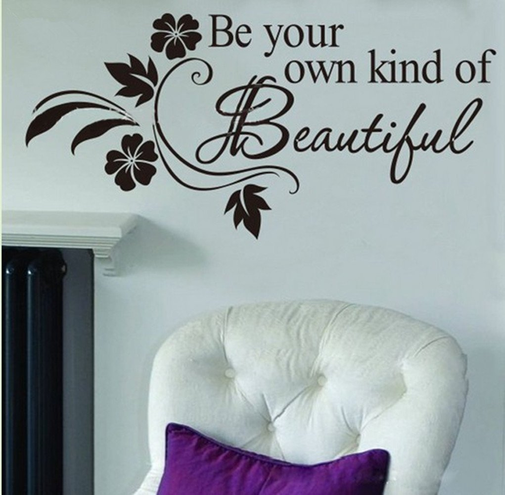 50c8c5ee8d4a Amazon.com  Picniva Decalgeek Be Your Own Kind of Beautiful Decals Flower  Vine Wall Sticker Art Décor  Home Improvement