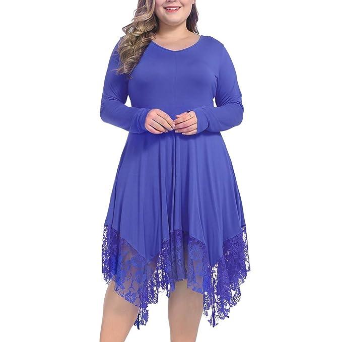 1920s Plus Size Flapper Dresses, Gatsby Dresses, Flapper Costumes NUONITA Women Dress Plus Size Long Sleeve Lace Irregular Hem Loose Shirt Tunic Dresses $27.99 AT vintagedancer.com