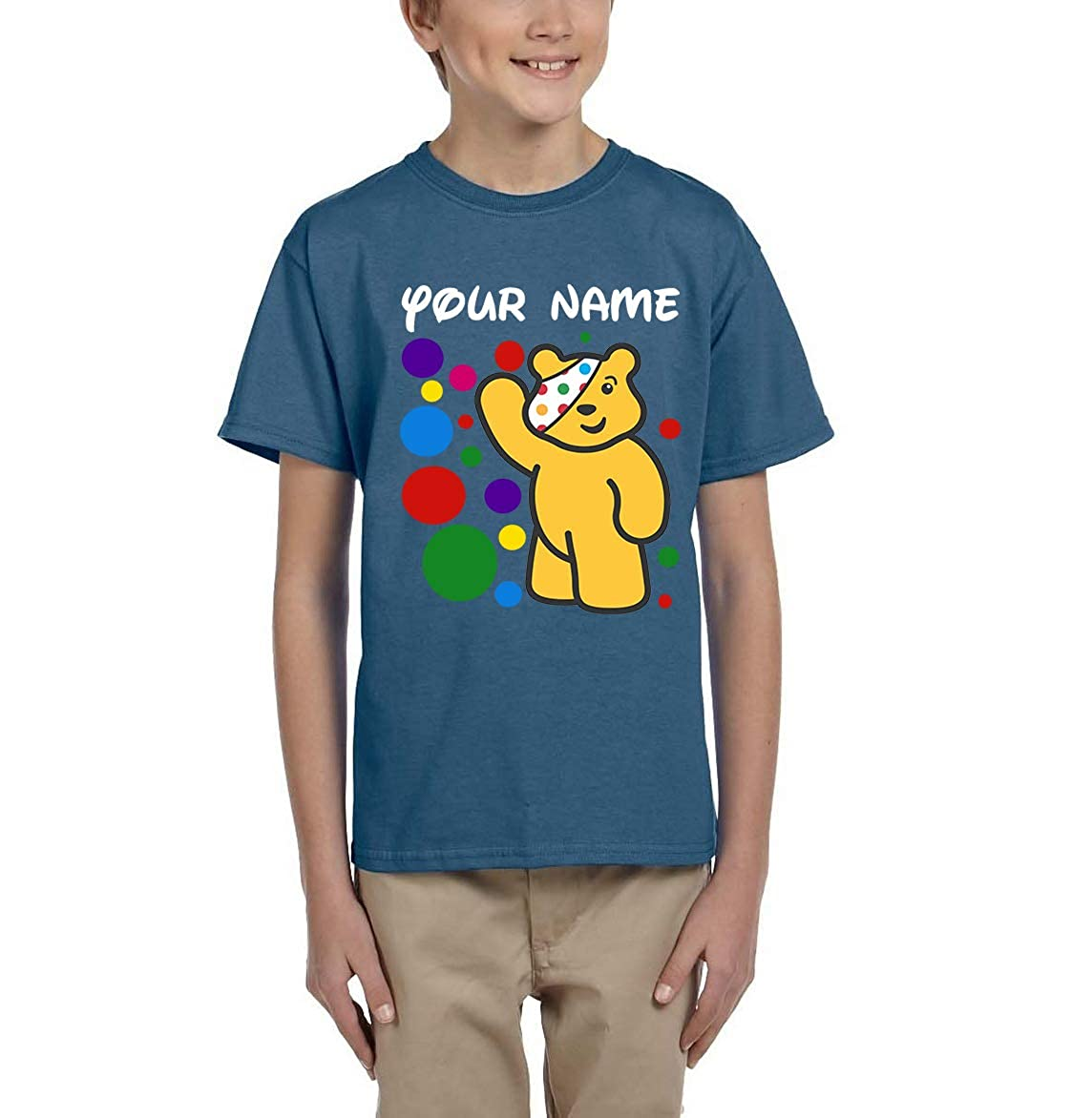 Daataadirect Spotty Day Your Name Kids Boys Girls Bear Personalised Pudsey T Shirt School