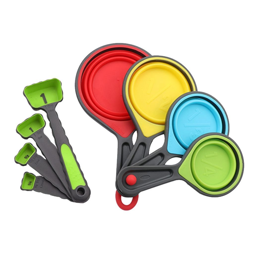 Chilie 8 Pcs Bake Measuring Cups Measuring Spoons Set Collapsible Measuring Cups Kitchen Set for Dry Liquid Ingredients