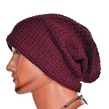 QHGstore Oversized Men Knit Beanie Hat Baggy Long Slouchy Winter Warm Skull  Cap Wine red e8f33727807