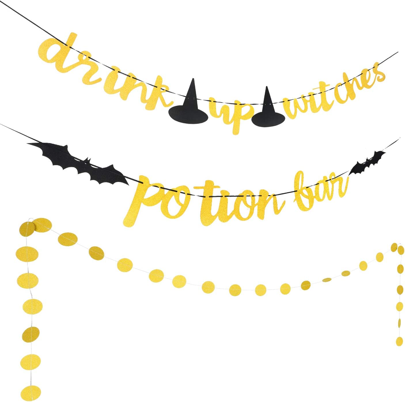 Halloween Banner Gold Glittery Potion Bar Banner, Drink Up Witches Banner and Circle Dots Garland for Halloween Party Home Decoration Supplies