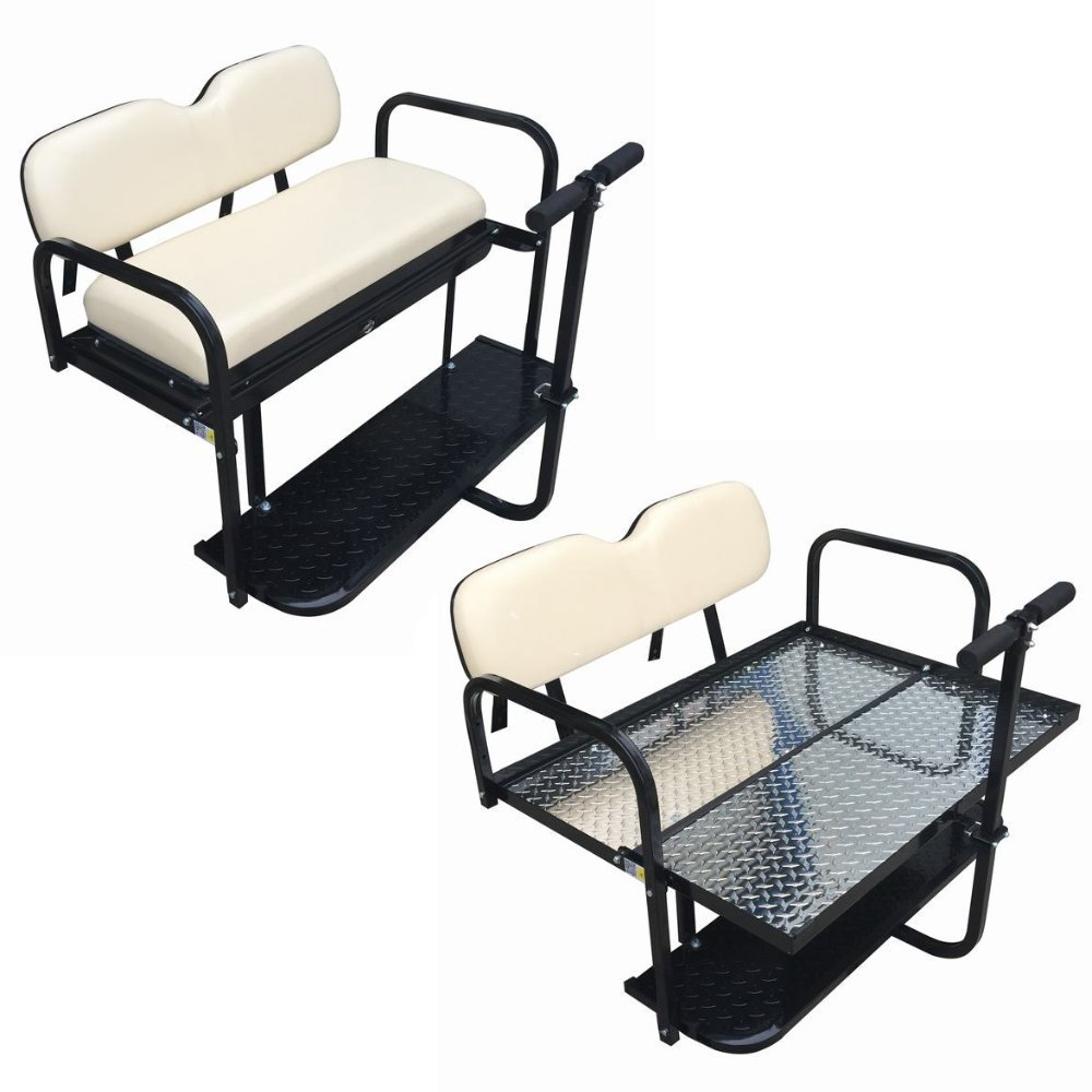 Club Car DS Golf Cart Rear Flip Back Seat Kit for 2000.5 - Up Factory Buff